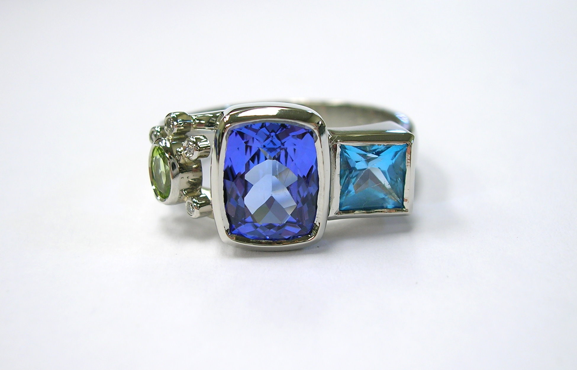 Ring Redesign with Tanzanite Topaz Peridot