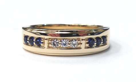 custom wedding band with sapphires and moissanites