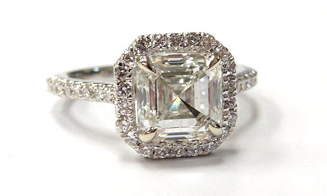 custom diamond ring asscher cut diamond