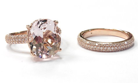 morganite diamond custom engagement ring
