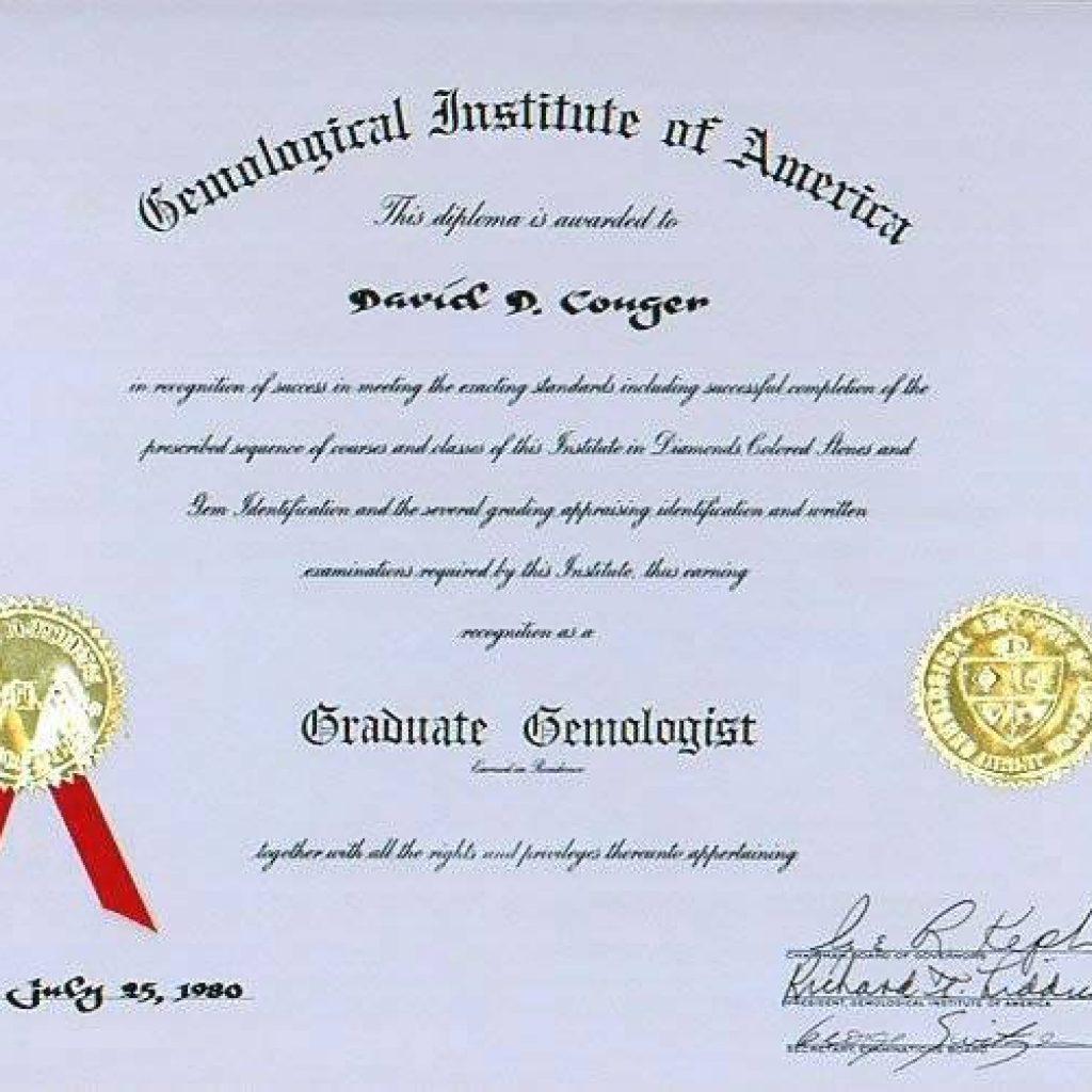 David Conger, GIA Graduate Gemologist Certificate
