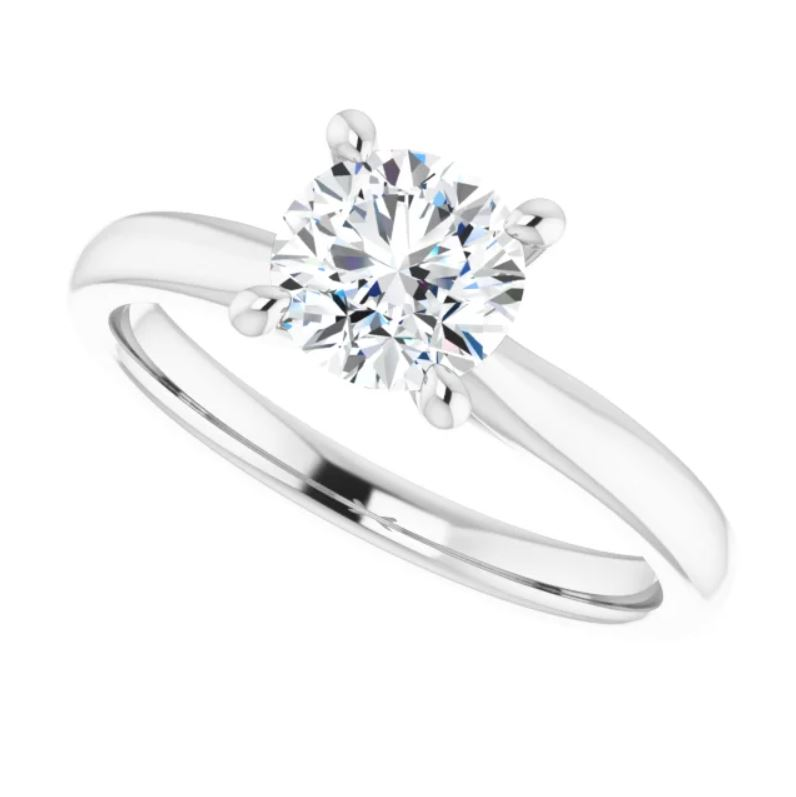 14K White 6.5 mm Round Solitaire Engagement Ring Mounting