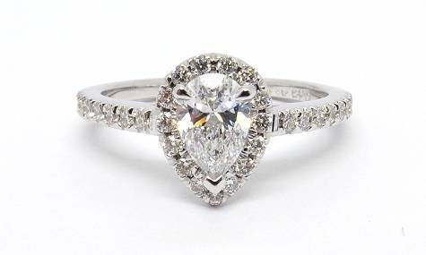A picture of a custom made halo engagement ring by Conger's Jewellers, Ottawa