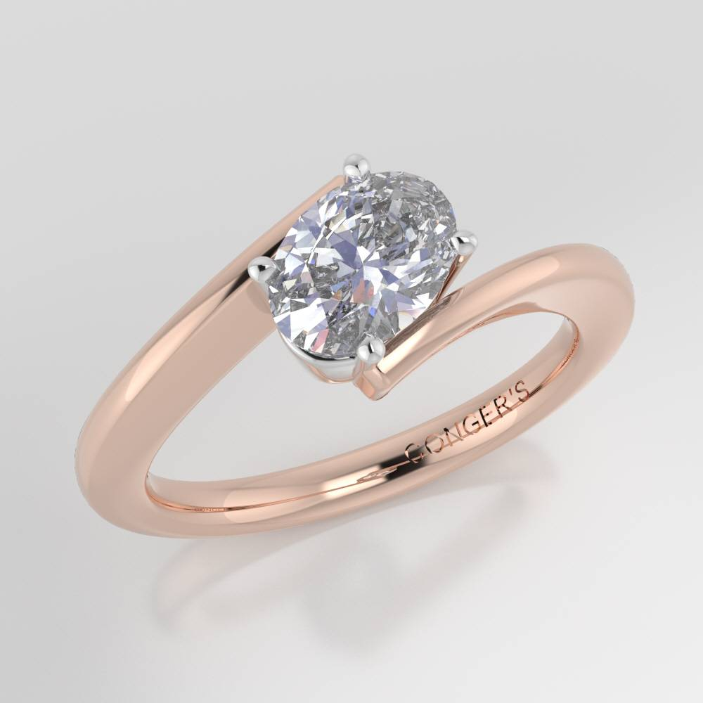 Custom Bypass Solitaire Engagement Ring